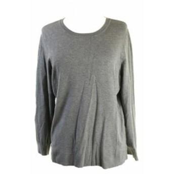 Alfani  ファッション トップス Alfani Pewter Melange Long-Sleeve Crew-Neck Sweater S
