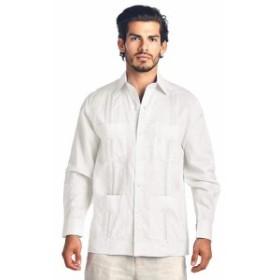 ファッション アウター Mens Premium Cuban Beach Long Sleeve Button Up Linen Guayabera Dress Shirt