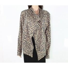 ファッション 衣類 Down East Womens Brown Size Large L Leopard Print Open Front Jacket