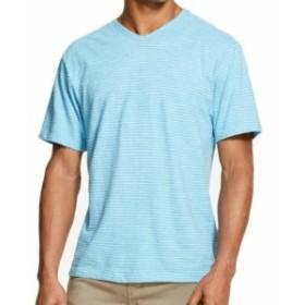 DKNY ダナキャランニューヨーク ファッション トップス DKNY Mens T-Shirt Blue Size Large L Slub V Neck Striped Short-Sleeve