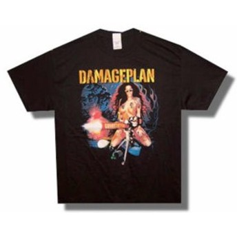 ファッション トップス Damage Plan-(Pantera)-Tattoo Chick-Devastation Tour-Large Black T-shirt
