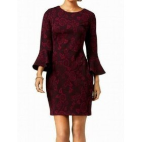 bell ベル ファッション ドレス Tommy Hilfiger Womens Dress Purple Size 8 Sheath Bell Sleeve Jacquard