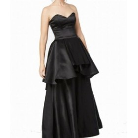 ファッション ドレス Fame and Partners NEW Black Womens Size 2 Peplum Satin Gown Dress