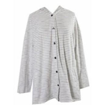 ファッション トップス Style & Co. Plus Size Beige Striped Hooded Sweater 3X