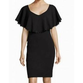 Betsy & Adam ベッツィアンドアダム ファッション ドレス Betsy & Adam NEW Black Womens Size 6 Lace-Trim Ruffle Sheath Dress
