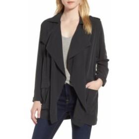 ファッション 衣類 Trouve NEW Charcoal Black Womens XS Open-Front Draped Military Jacket