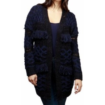 lucky ラッキー ファッション トップス Lucky Brand NEW Black Womens Size XL Fringe Trim Knitted Cardigan