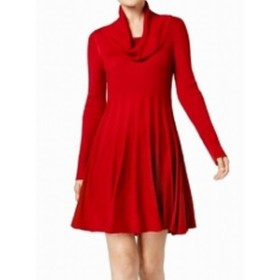 Calvin Klein カルバンクライン ファッション ドレス Calvin Klein NEW Red Womens Large L Rib Cowl Neck Sweater Dress