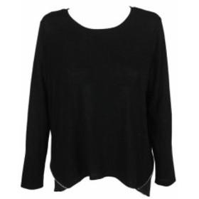 ファッション トップス Bar Iii Black Long-Sleeve Zip-Detail Contrast Pullover XL