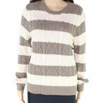 Pierre  ファッション トップス Jeanne Pierre Beige Tan Womens Large L Crewneck Striped Sweater