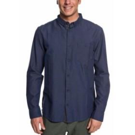 Quiksilver クイックシルバー ファッション アウター Quiksilver Mens Shirt Navy Blue Size Medium M Long Sleeve Button Down