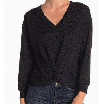 Lush ラッシュ ファッション トップス LUSH Womens Twisted Front Knit Black Size Small S Tunic V-Neck Sweater #076
