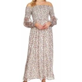 CeCe  ファッション ドレス Cece Womens Beige Size Medium M Floral Print Smocked Maxi Dress