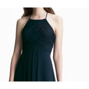 ファッション ドレス Levkoff NEW Blue Womens Size 8 Pleated Chiffon Keyhole Sheath Dress