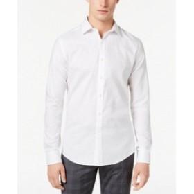 ファッション ドレス Bar III Mens Dress Shirt White Size 17-17 1/2 Houndstooth Slim-Fit Tonal #175