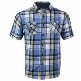 Overdrive  ファッション アウター Overdrive Mens Cotton Plaid Button Up Casual Short Sleeve Slim Fit Dress Shirt