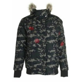 American  ファッション 衣類 American Rag Junior Green Black Embroidered Camo Print Faux Fur Puffer Jacket M
