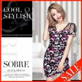 【SALE】キャバドレス キャバ ドレス 大きいサイズ ソブレ ミニ ワンピ 格子レースプリントワンピース 180105 【返品交換不可】