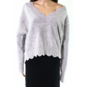 ファッション トップス Love by Design NEW Gray Womens Medium M Scalloped Neck V-Neck Sweater