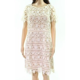 Eliza J エリザジェイ ファッション ドレス Eliza J NEW Beige Womens Size 10 Lace Overlay Short Sleeve Sheath Dress