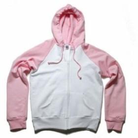 ファッション トップス Bella + Canvas 7010 Ladies Two Tone Zip Up Hoodie Sweatshirt White/Pink