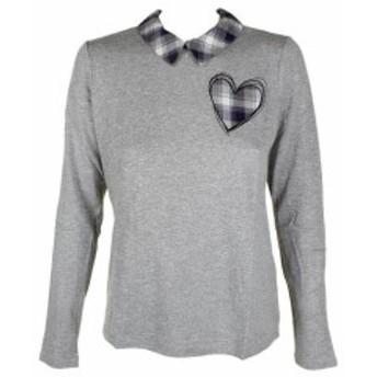 Maison  ファッション トップス Maison jules light grey bow-stripe shirt collar sweater m