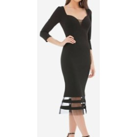 JS Collections JS コレクションズ ファッション ドレス JS Collections NEW Black Womens Size 14 Illusion-Trim Sheath Dress