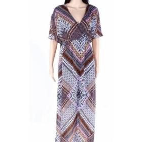 Maxi  ファッション ドレス INC Womens Dress Black Size 1X Plus Surplice Neck Intricate Print Maxi