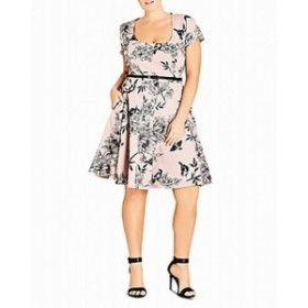 City Chic シティシック ファッション ドレス City Chic NEW Pink Womens Size XXL Belted Floral Print Sheath Dress