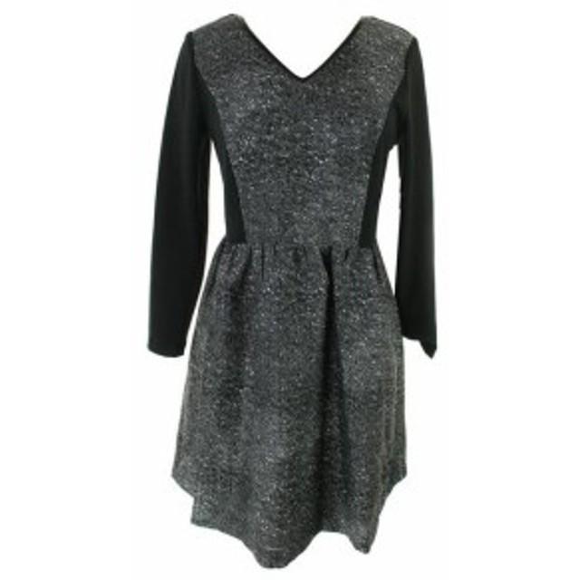 kensie ケンジー ファッション ドレス Kensie New Black-White 3/4-Sleeve Lace-Inset Dress S