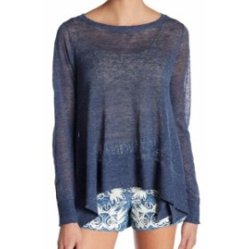 Alice + Olivia アリス+オリビア ファッション トップス Alice + Olivia Womens Blue Size XS Burnout Knit Crewneck Sweater