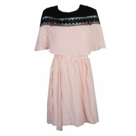 Shift  ファッション ドレス Yyigal Blush Pink Black Lace Trim Capelet Shift Dress M