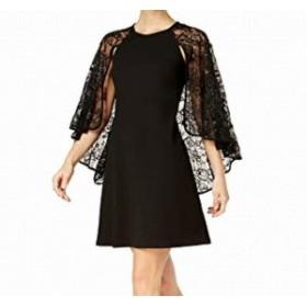 Calvin Klein カルバンクライン ファッション ドレス Calvin Klein NEW Black Womens Size 6 Sequin Lace Capelet Sheath Dress