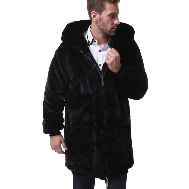 OSYS THX ファーコート メンズ 毛皮コート アウター 厚手 男 ジャケットフェイクファー アウトドア ロングコート