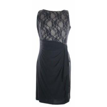 American  ファッション ドレス American Living New Black Sleeveless Mixed-Media Ruffled Dress 8