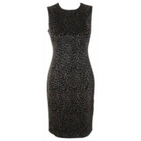 Calvin Klein カルバンクライン ファッション ドレス Calvin Klein Black Gold Metallic Animal Print Sheath Dress 4