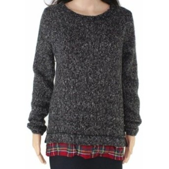 Sanctuary サンクチュアリ ファッション トップス Sanctuary Womens Gray Size Small S Plaid Hem Marled Knit Tunic Sweater