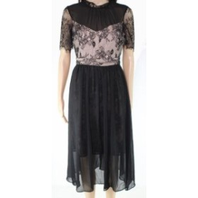Avec Les Filles アベックレフィレ ファッション ドレス Avec Les Filles Womens A-Line Dress Black Nude Size 0 Floral Lace