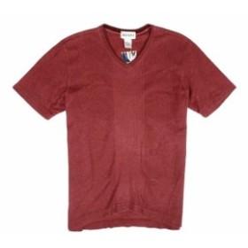 Alfani  ファッション トップス Alfani Mens T-Shirt Red Size Medium M V Neck Ribbed Knit Slim Fit
