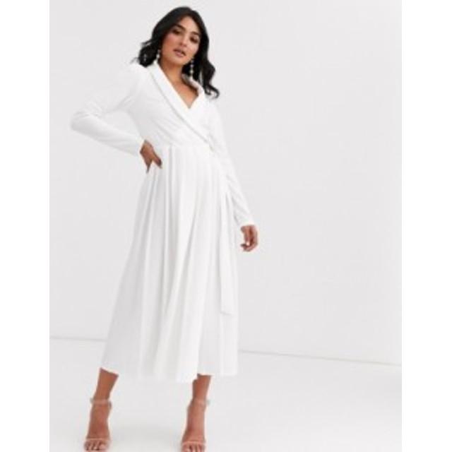 エイソス レディース ワンピース トップス ASOS DESIGN midi shirt dress with pleated skirt and buckle detail Ivory