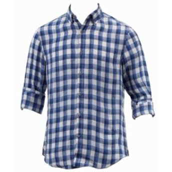 nautica ノーティカ ファッション アウター Nautica Mens Long Sleeve Heirloom Federal Blue Plaid Linen Button Down Shirt