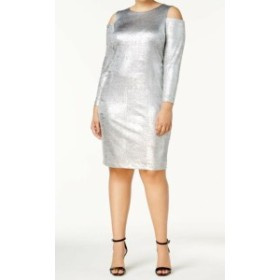Calvin Klein カルバンクライン ファッション ドレス Calvin Klein NEW Silver Womens Size 20W Plus Cold-Shoulder Sheath Dress