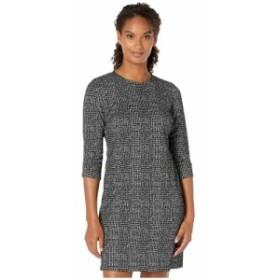 カルバンクライン Calvin Klein レディース ワンピース ワンピース・ドレス Plaid Sheath Dress with Ruched Detail Sleeve Black/Cream