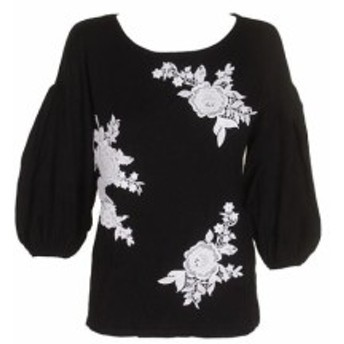 ファッション トップス Inc International Concepts Black 3/4 - Sleeve Lace embroidered jumper