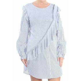kensie ケンジー ファッション ドレス Kensie NEW Gray Womens Size Large L Ruffle Front Striped Shirt Dress