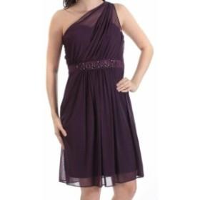 Adrianna Papell アドリアーナ パペル ファッション ドレス Adrianna Papell NEW Purple One-Shoulder Chiffon Beaded 2 Sheath Dress