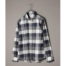 シップス SHIPS JET BLUE: チェックボタンダウンネルシャツ メンズ ブルー LARGE 【SHIPS】