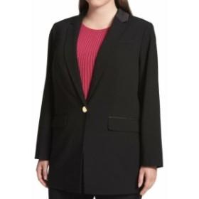 Blazer ブレザー ファッション フォーマル Calvin Klein NEW Black Womens 24W Plus Single-Button Satin Trim Blazer