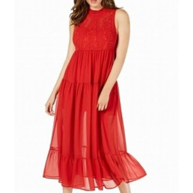 GUESS ゲス ファッション ドレス Guess Womens Dress Red Size XS Maxi Embroidered Floral Sheer-Skirt