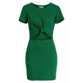 ファッション ドレス Socialite NEW Green Women Size XS Stripe Knot Cutout Sheath Dress Cotton